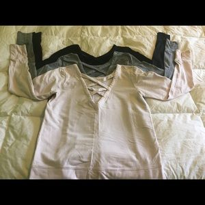 Bundle of (3) sweatshirts with lattice back detail